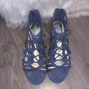 GUESS blue suede sandals